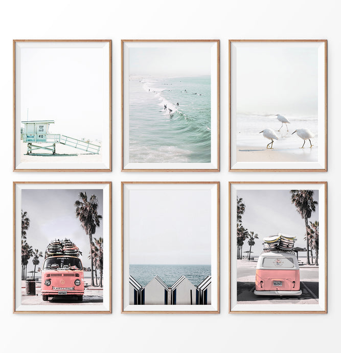 California Travel Wall Art Set. Lifeguard Tower, Surfers on a Wave, Seagulls, VW bus, cabins