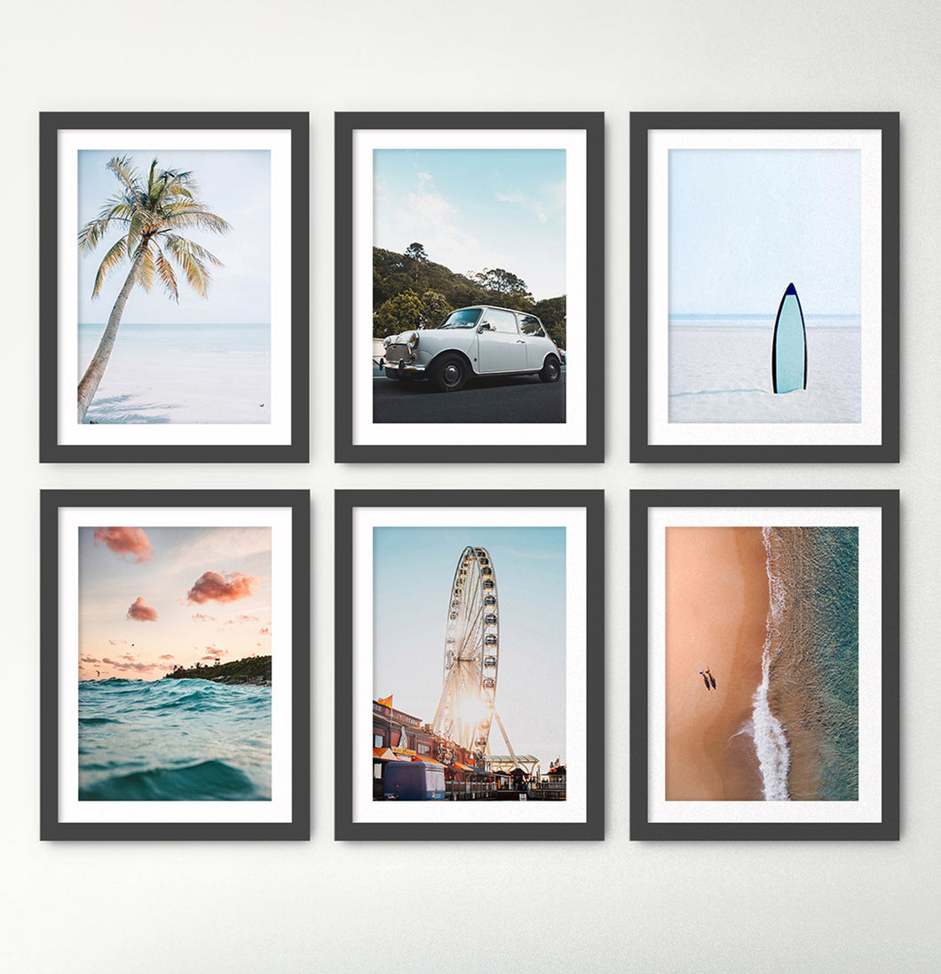 Ferris Wheel, Palm, Waves, Surf Board - Coastal Set Of 6 Framed Wall Art