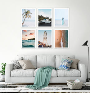 Set of 6 White-framed posters in a living room