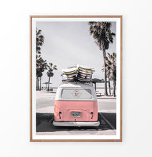 Load image into Gallery viewer, Pink VW travel bus print. California beach