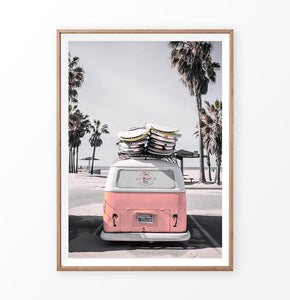Pink VW travel bus print. California beach