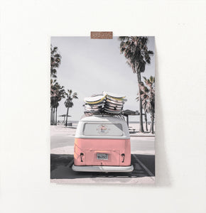Beach Poster Art with Retro VW Bus