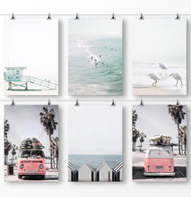 Load image into Gallery viewer, California Prints, Coastal Art, Santa Monica Beach, Lifeguard Tower, Retro Bus, Surfboard Decor, Set of 6 Prints