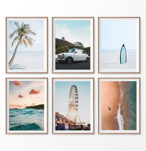 California Travel 6 Piece Decor. Ferris Wheel, Ocean Waves, Aerial See, Surfboard, Sand, Beach