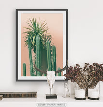 Load image into Gallery viewer, Green Cactus on pink | Botanical Wall Art