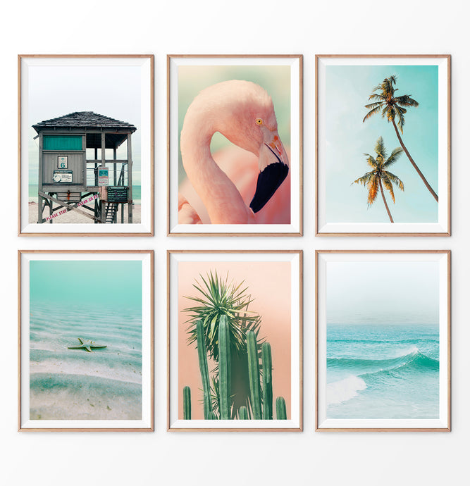 Pink Beach Prints Set. Flamingo, Palm Trees, Ocean, Lifeguard Tower
