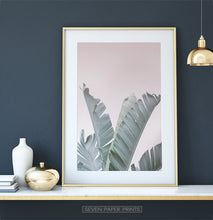 Load image into Gallery viewer, Banana Leaves on Pink Tropical Decor on Dark Wall