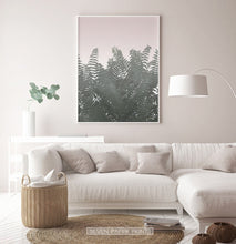 Load image into Gallery viewer, Green Tropical Leaves on Pink Poster for Living Room