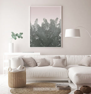 Green Tropical Leaves on Pink Poster for Living Room