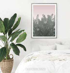 Bedroom with Green Tropical Leaves on Pink