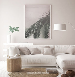 Palm Leaf on Pink Living room Wall Art