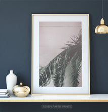 Load image into Gallery viewer, Green and Pink Palm Leaf Decor for Dark Wall