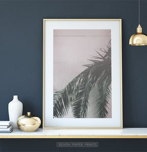 Green and Pink Palm Leaf Decor for Dark Wall