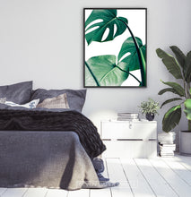 Load image into Gallery viewer, Monstera Tropical Leaves Print for Gray Bedroom