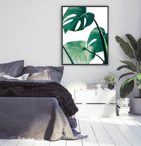 Monstera Tropical Leaves Print for Gray Bedroom