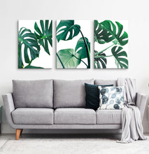Load image into Gallery viewer, Canvas set of 3 monstera leaves prints for living room