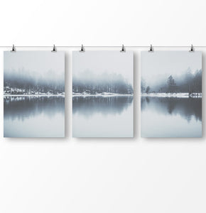 Lake house decor, lake reflection wall art, Forest prints, Modern minimalist landscape, Scandinavian wall art