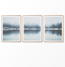 Load image into Gallery viewer, Blue Winter Lake Forest Set of 3 Prints