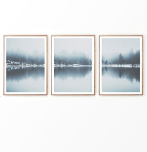 Blue Winter Lake Forest Set of 3 Prints