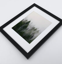 Load image into Gallery viewer, A framed print with a foggy forest