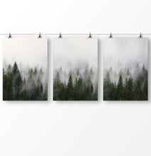 Load image into Gallery viewer, Forest Photography, Misty Forest, Nature Art, Set of 3 Forest Printable, Trees Wall Art, Green Wall Art, Foggy Landscape