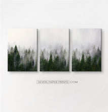 Load image into Gallery viewer, Green foggy forest canvas set of 3 prints #152