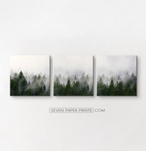 Green foggy forest canvas set of 3 prints #152