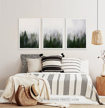 Load image into Gallery viewer, Three framed prints with a foggy forest 2