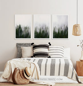 Three framed prints with a foggy forest 2