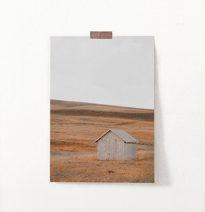 Shack In A Middle Of Field Photo Wall Decor