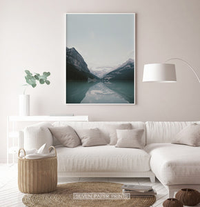 Beautiful Mountain Lake Louise Vivid Photo Art