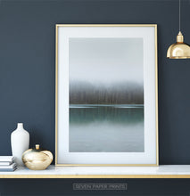 Load image into Gallery viewer, Foggy Green Forest Calm Morning Lake Poster Natural Colors