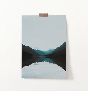 Teal Mountain Mirror Lake Nordic Landscape Wall Art