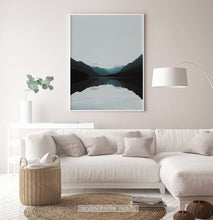 Load image into Gallery viewer, Teal Mountain Mirror Lake Nordic Landscape Wall Art