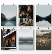 Load image into Gallery viewer, Nature wall art, Mountain lakes, old barn, Farmhouse Print, Mountain Photo, Shabby Chic Farmhouse, Modern Farmhouse, Meadow, Set of 6, Travel Landscape