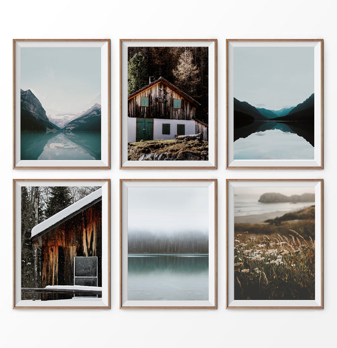 Canadian Nature set of 6 wall art. Lake Louise. Forest, field, cabin