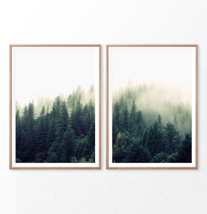 Foggy Forest Wall Art Set of 2. Mountain Landscape