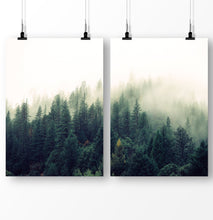 Load image into Gallery viewer, Foggy forest, Green Trees, Forest Art Set of 2 Prints, Forest Photography Decor, Mountain Landscape, Forest Greenery Wall Art, Forest Poster 2 Piece Set, Foggy Print