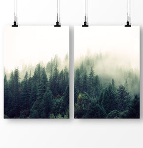 Foggy forest, Green Trees, Forest Art Set of 2 Prints, Forest Photography Decor, Mountain Landscape, Forest Greenery Wall Art, Forest Poster 2 Piece Set, Foggy Print