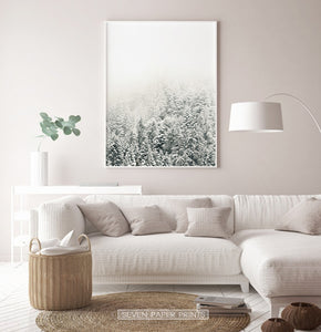 White-framed Snowy Branches Spruce Forest Photo Wall Art