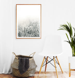 Wooden-framed Snowy Branches Spruce Forest Photo Wall Art