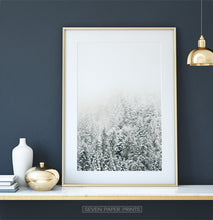 Load image into Gallery viewer, Gold-framed Snowy Branches Spruce Forest Photo Wall Art