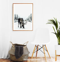Load image into Gallery viewer, Wood-framed Moose On a Snowy Country Road Photo Wall Decor