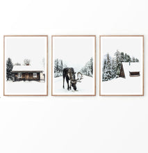 Load image into Gallery viewer, Christmas Decor With Moose Cabin and Barn Set of 3
