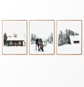 Christmas Decor With Moose Cabin and Barn Set of 3