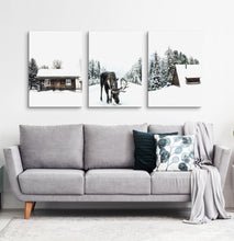 Load image into Gallery viewer, Moose winter and winter nature set of 3 canvases #161