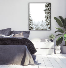 Load image into Gallery viewer, Black-framed Covered In Snow Forest Clearing Wall Art