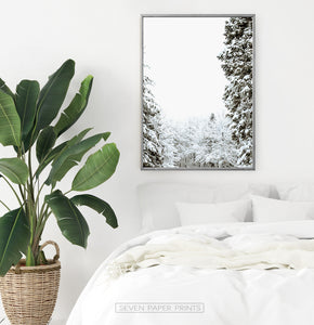 Gray-framed Covered In Snow Forest Clearing Wall Art