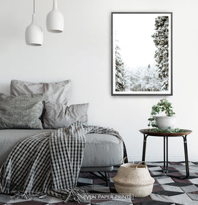 Black-framed Covered In Snow Forest Clearing Wall Art