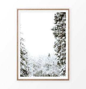 Wood-framed Covered In Snow Forest Clearing Wall Art